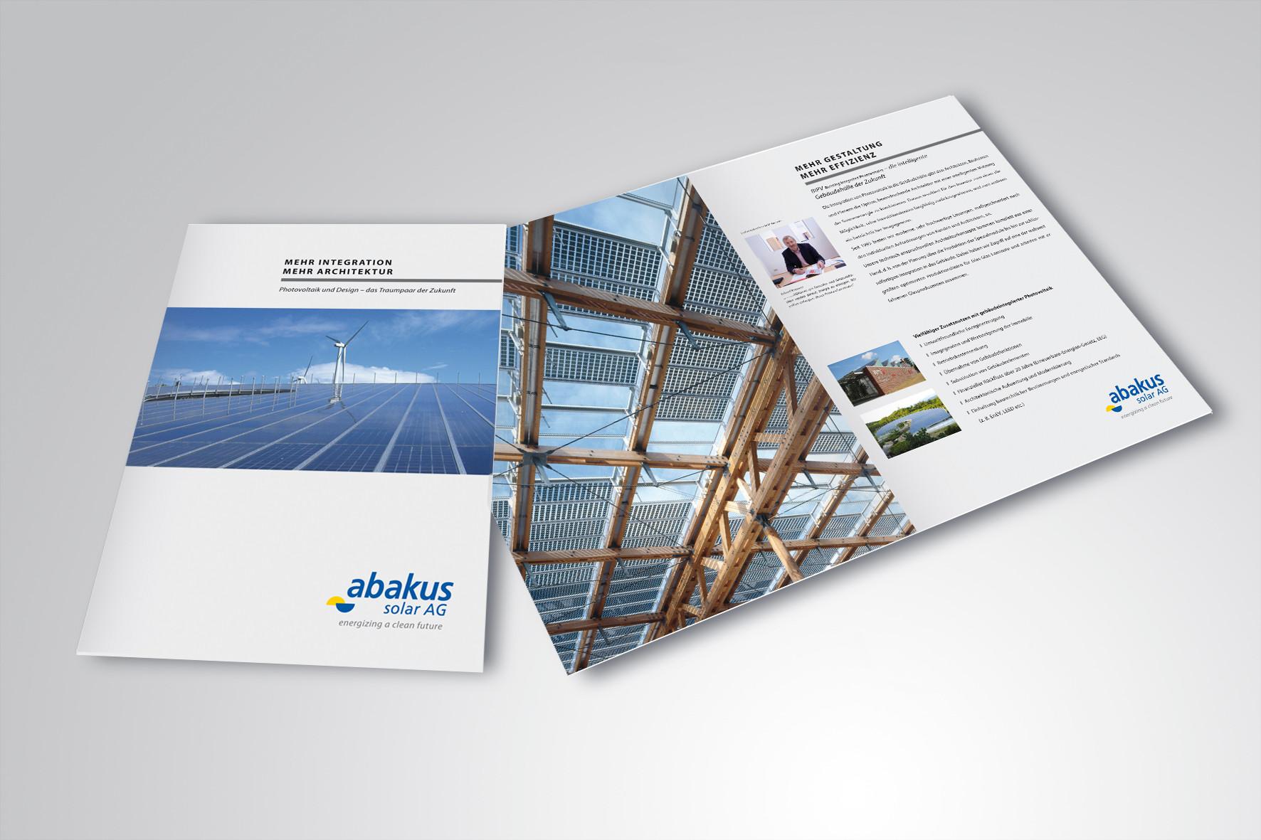 Kunde: abakus solar AG · Produkt: BIPV Broschüre