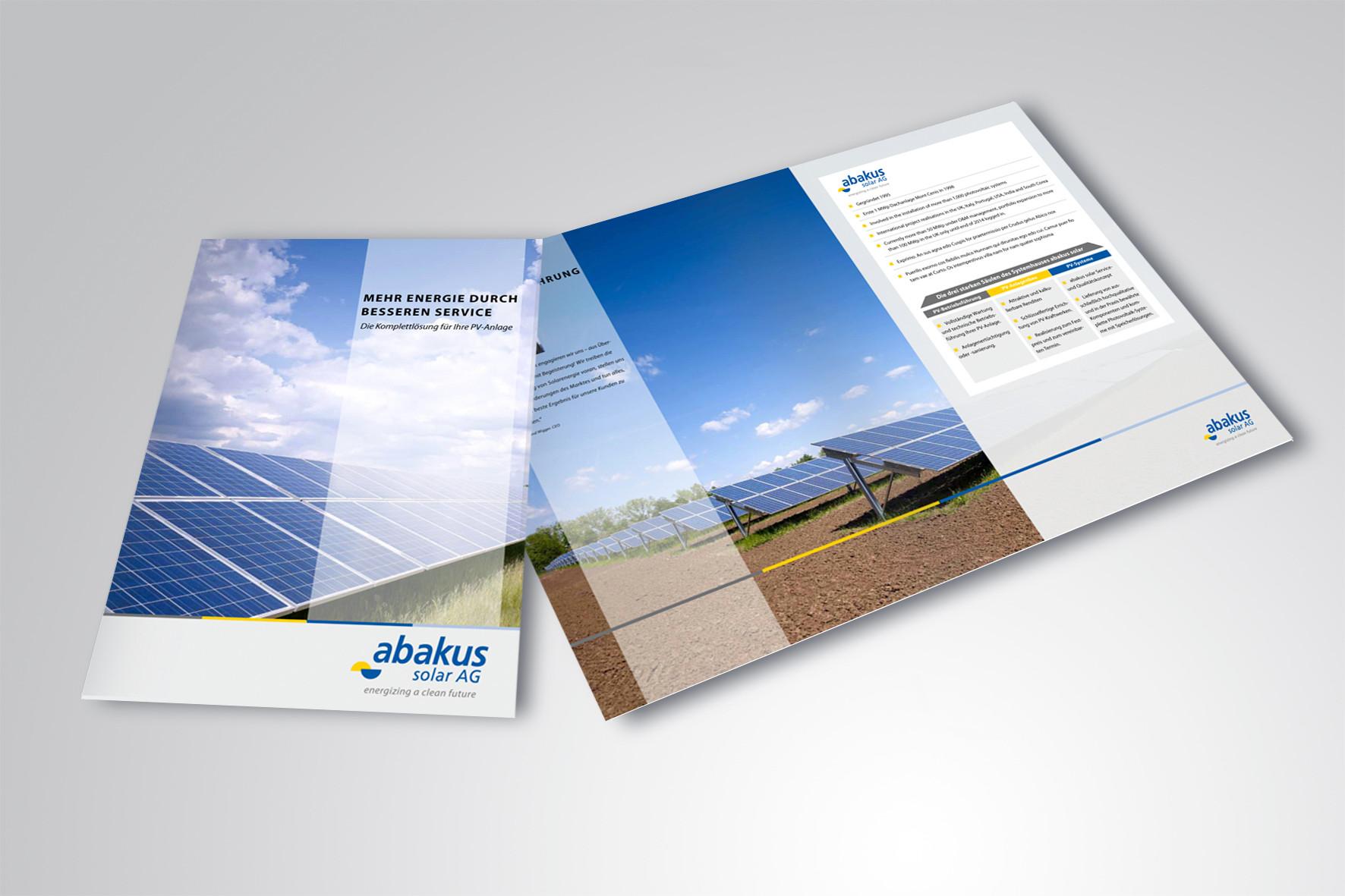 Kunde: abakus solar AG · Produkt: O&M Broschüre