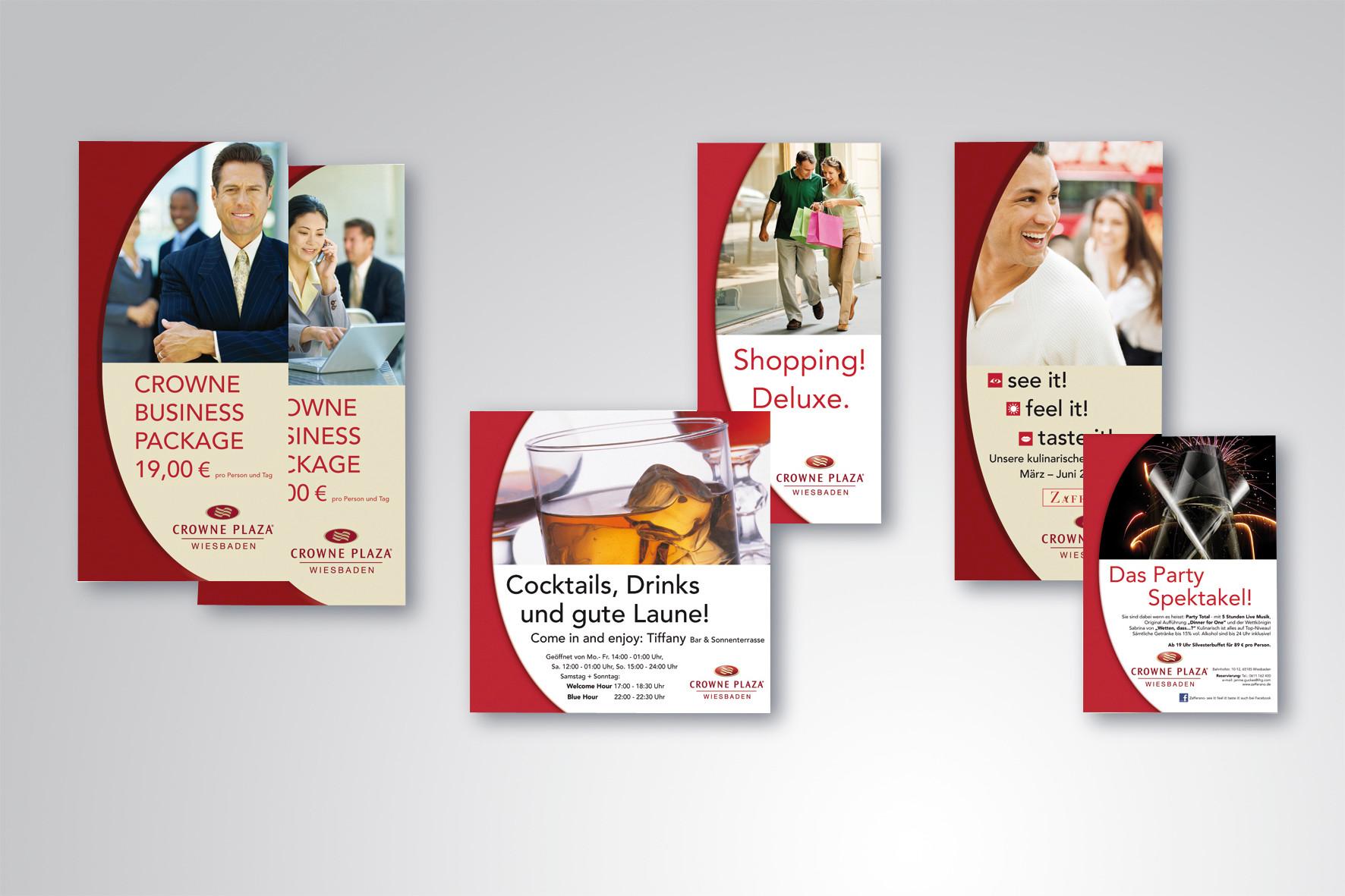 Kunde: Crowne Plaza Wiesbaden · Flyer und Anzeigen
