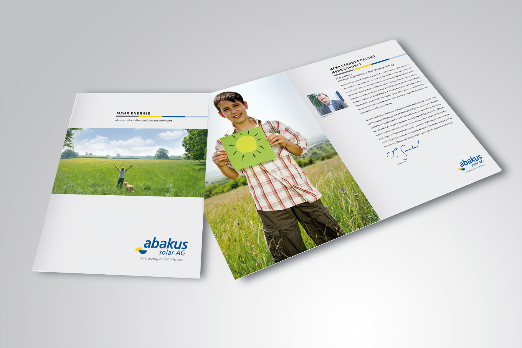 Kunde: abakus solar AG · Produkt: Imagebroschüre