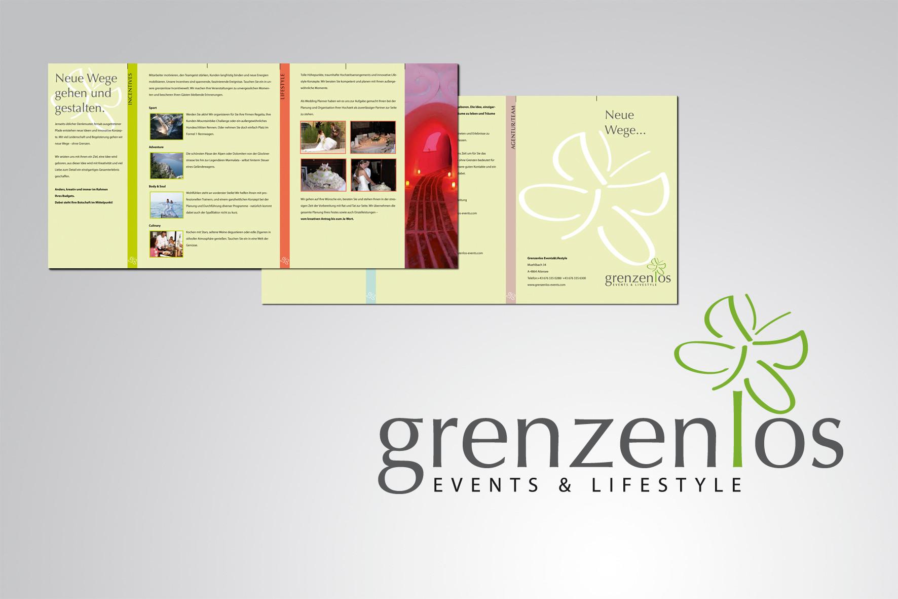 Kunde: Grenzenlos, Logoentwicklung und Broschüren