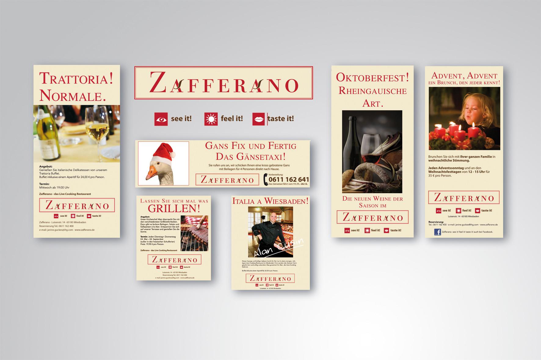 Kunde: Crowne Plaza Wiesbaden · Restaurant Zafferano, Flyer und Anzeigen