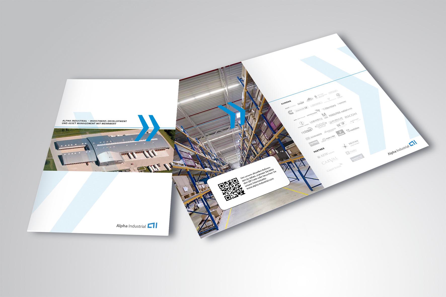 Kunde: Alpha Industrial · Produkt: Imagebroschüre