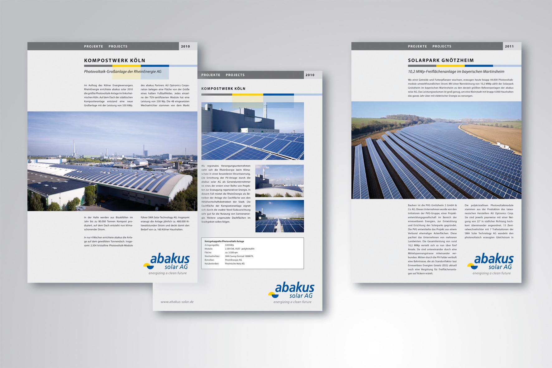 Kunde: abakus solar AG · Produkt: Referenz Blätter