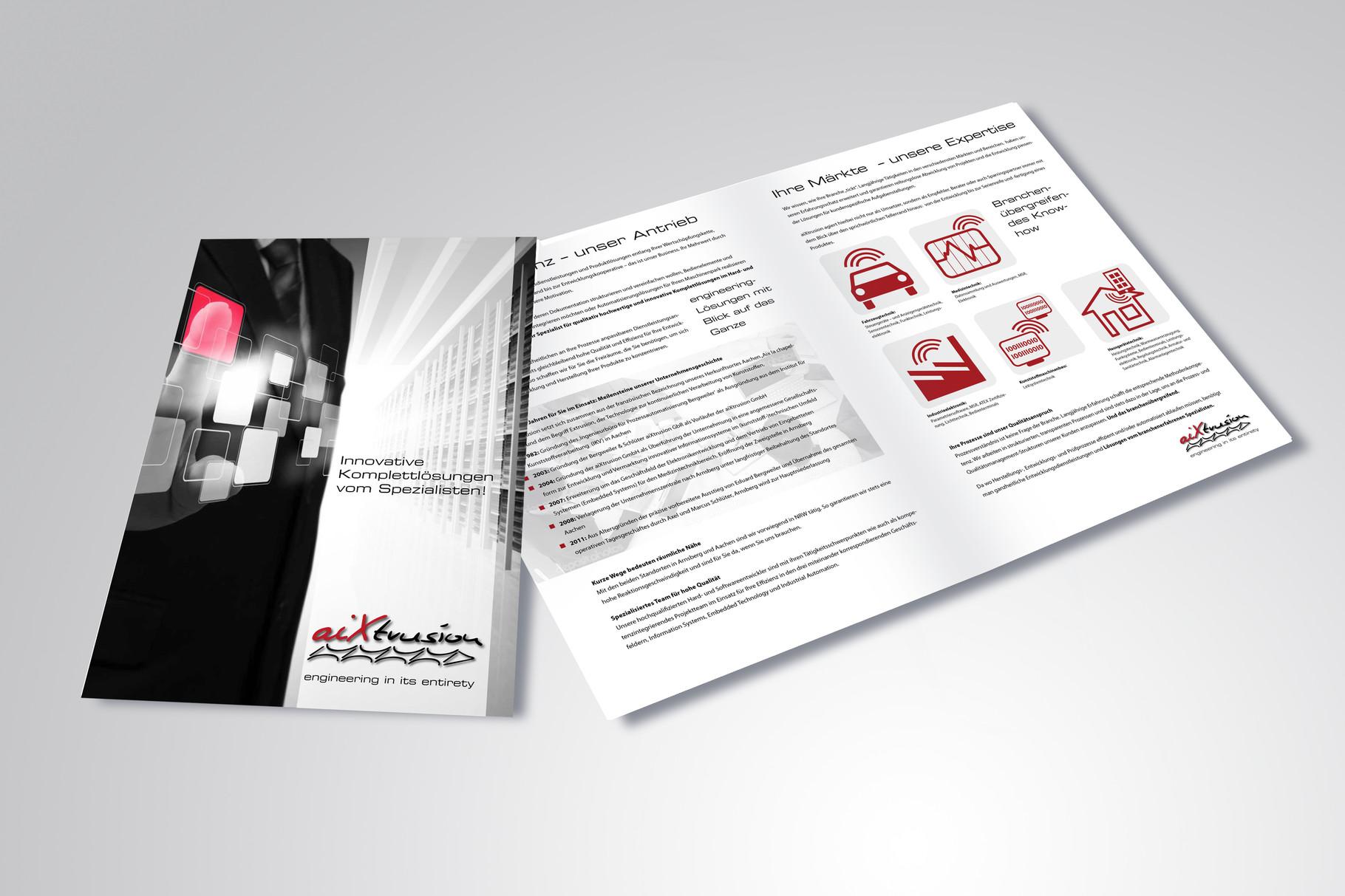 Kunde: aixtrusion · Produkt: Imagebroschüre