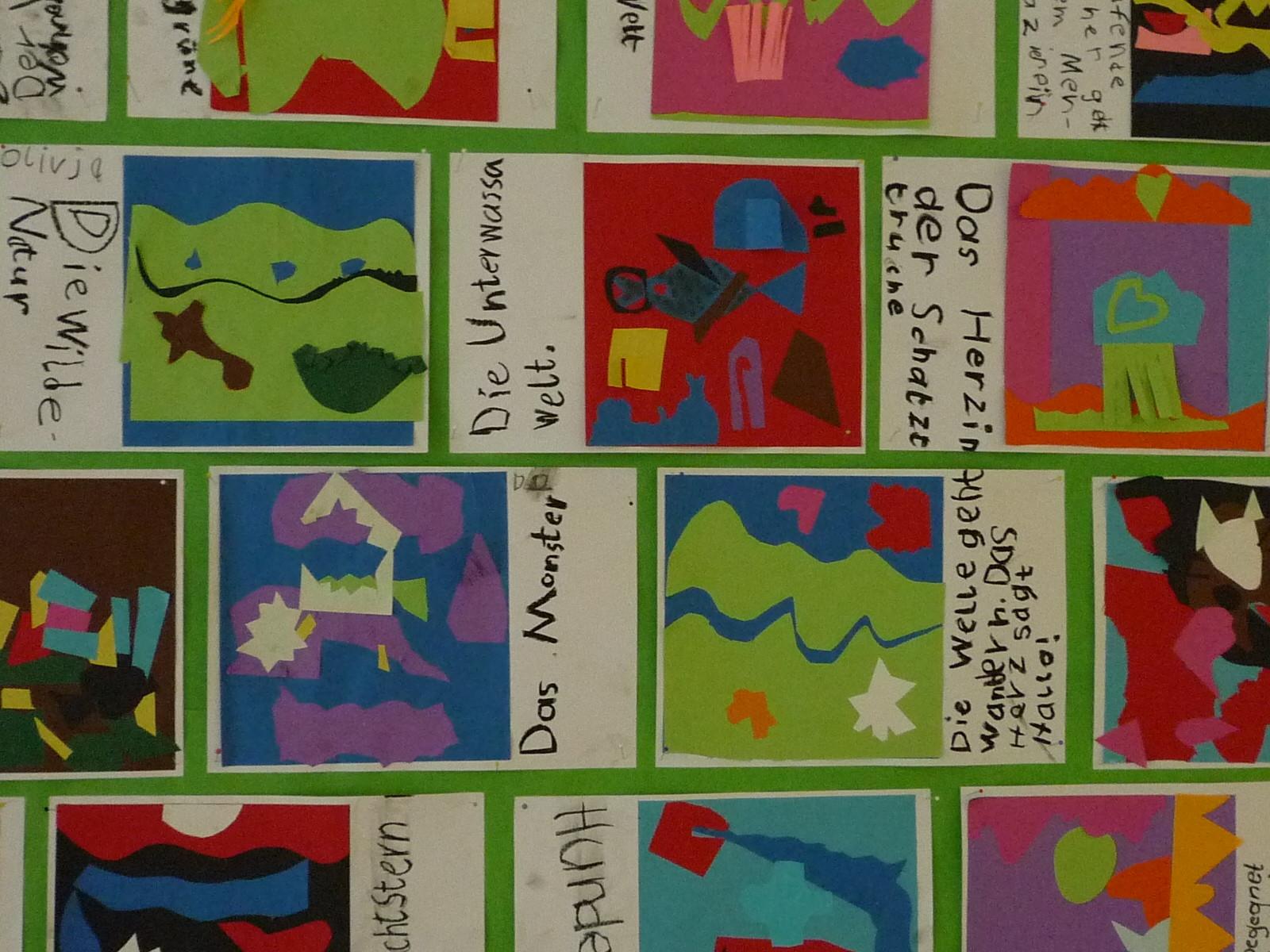 """Schülerarbeiten aus dem Workshop """"Matisse"""", 1. Klasse"""