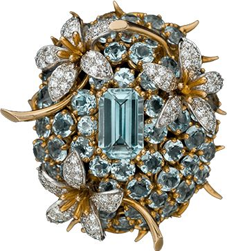 Aquamarine diamond brooch