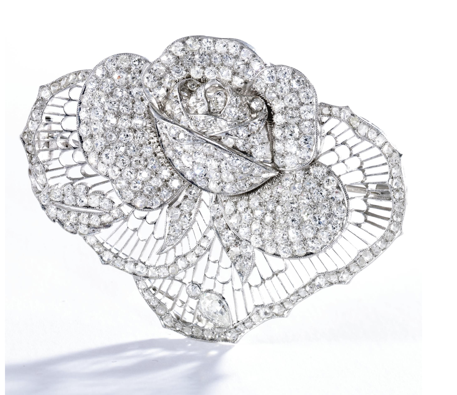 Platinum and Diamond Rose Brooch, Circa 1930 - Credits Sotheby's