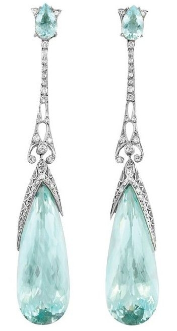 A Pair of Edwardian Platinum, Aquamarine and Diamond Pendant-Earrings, circa 1910