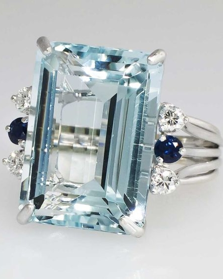 Huge 21.73ct t.w. Glorious Aquamarine, Diamond & Blue Sapphire Cocktail Ring 14k, 1980