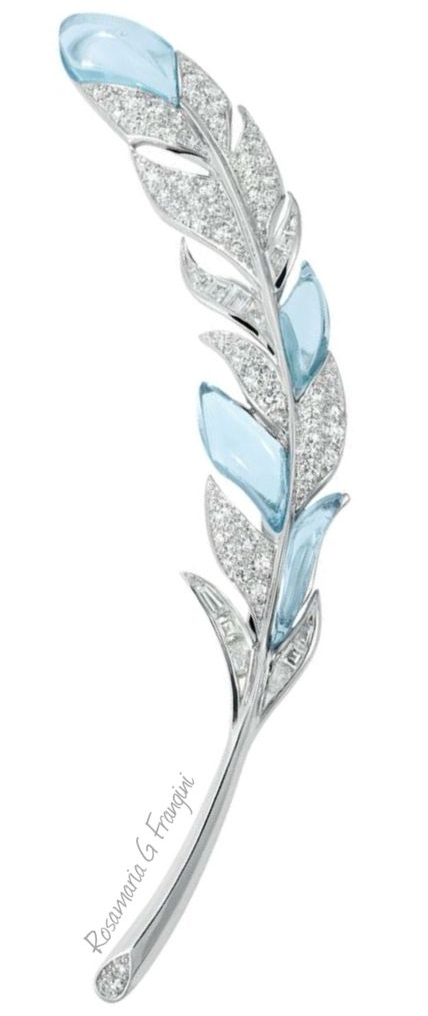 RosamariaGFrangini, Aquamarine and Diamond Leaf Brooch