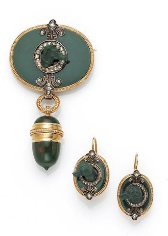 A set of antique bloodstone and diamond jewelry