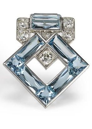 Cartier, Art Deco aquamarine and diamond brooch
