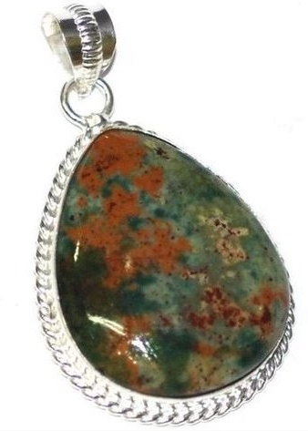 925 Sterling Silver Filled  Gorgeous Bloodstone