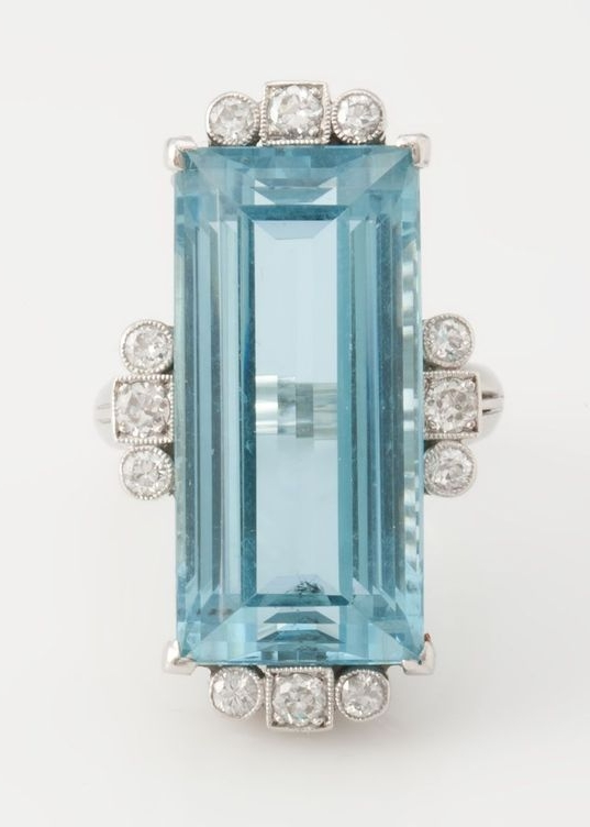 Vintage platinum aquamarine & diamond ring, circa late 1940s-early 1950s