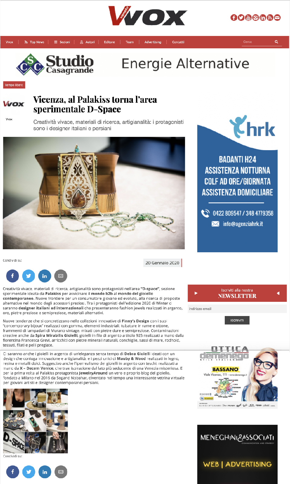 "Article on vvox.com - For the first time at Palakiss there will be ""JewelryAround"", the innovative virtual showcase for young Persian contemporary artists and designers."