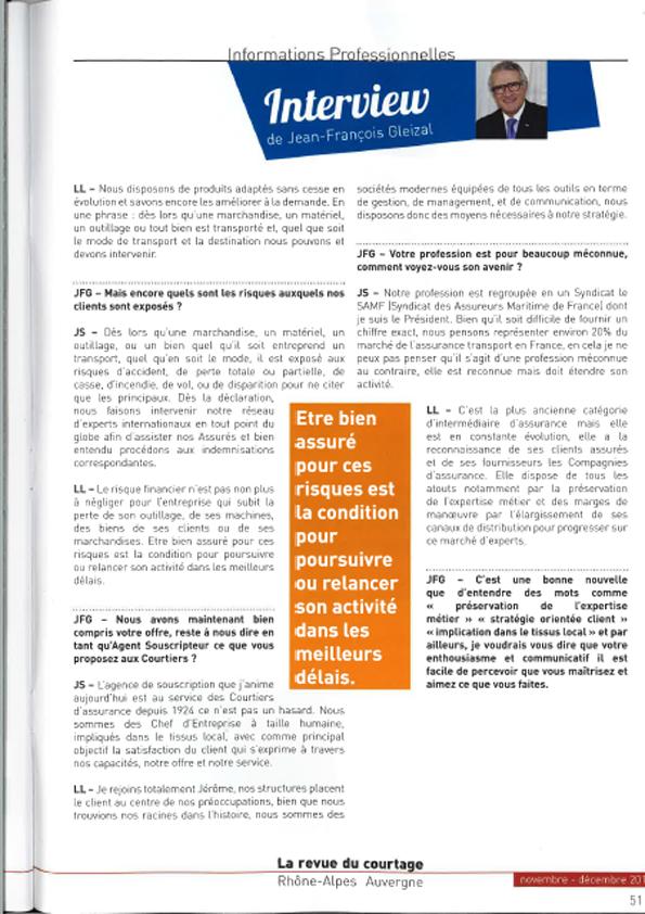 Interview par Jean-François Gleizal pour La revue du courtage Rhône-Alpes Auvergne - Edition Novembre-Décembre 2015
