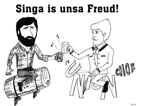 Karikatur von zwei Chorleitern