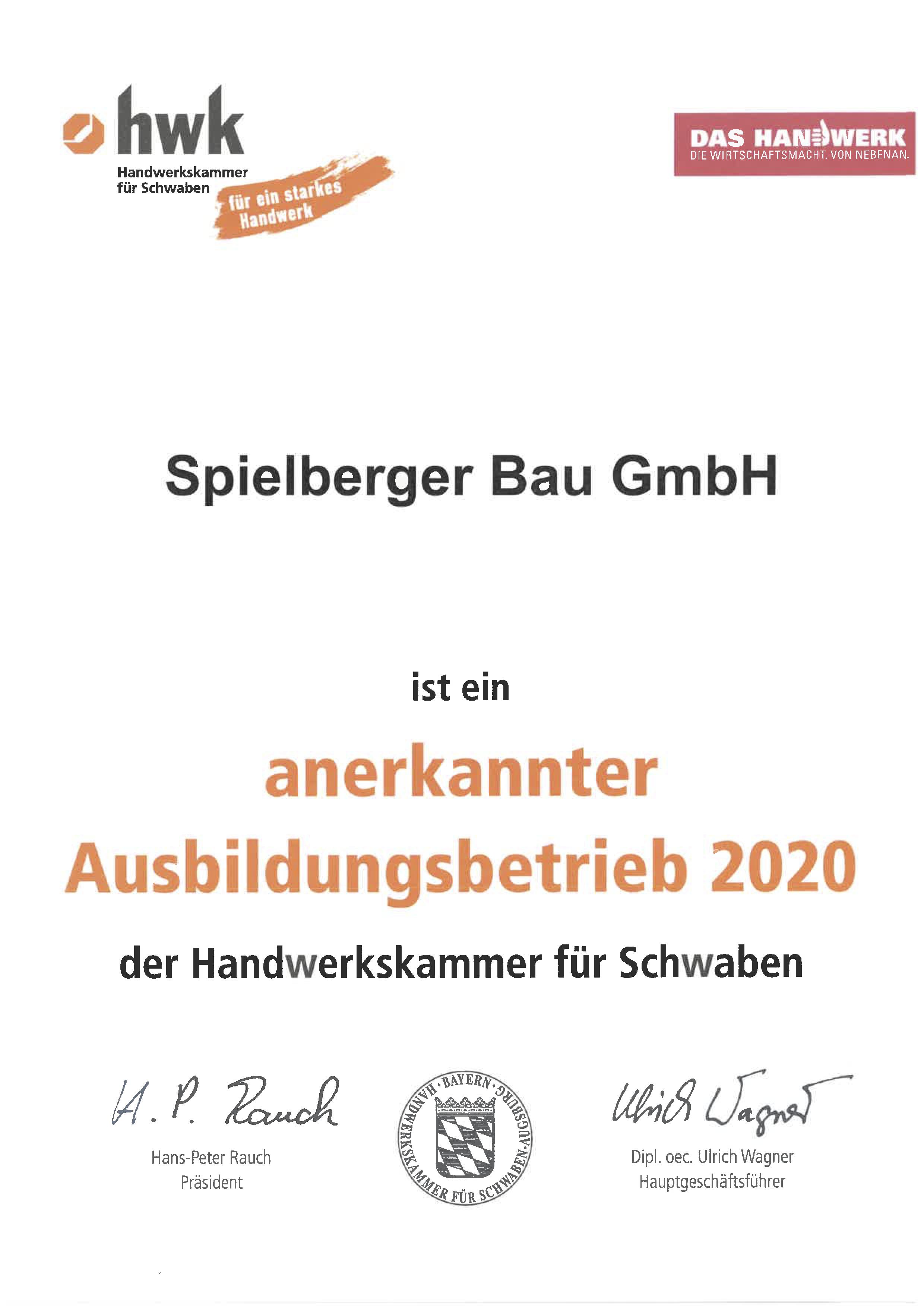 Spielberger Bau GmbH ist ein anerkannter Ausbildungsbetrieb 2018 der Handwerkskammer für Schwaben