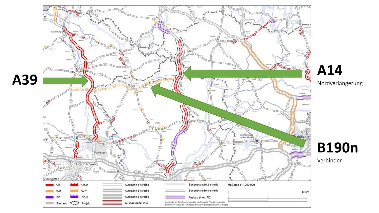 A14, A39 und B190n: geplanter Trassenverlauf, c Projektinformationssystem zum Bundesverkehrswegeplan 2030