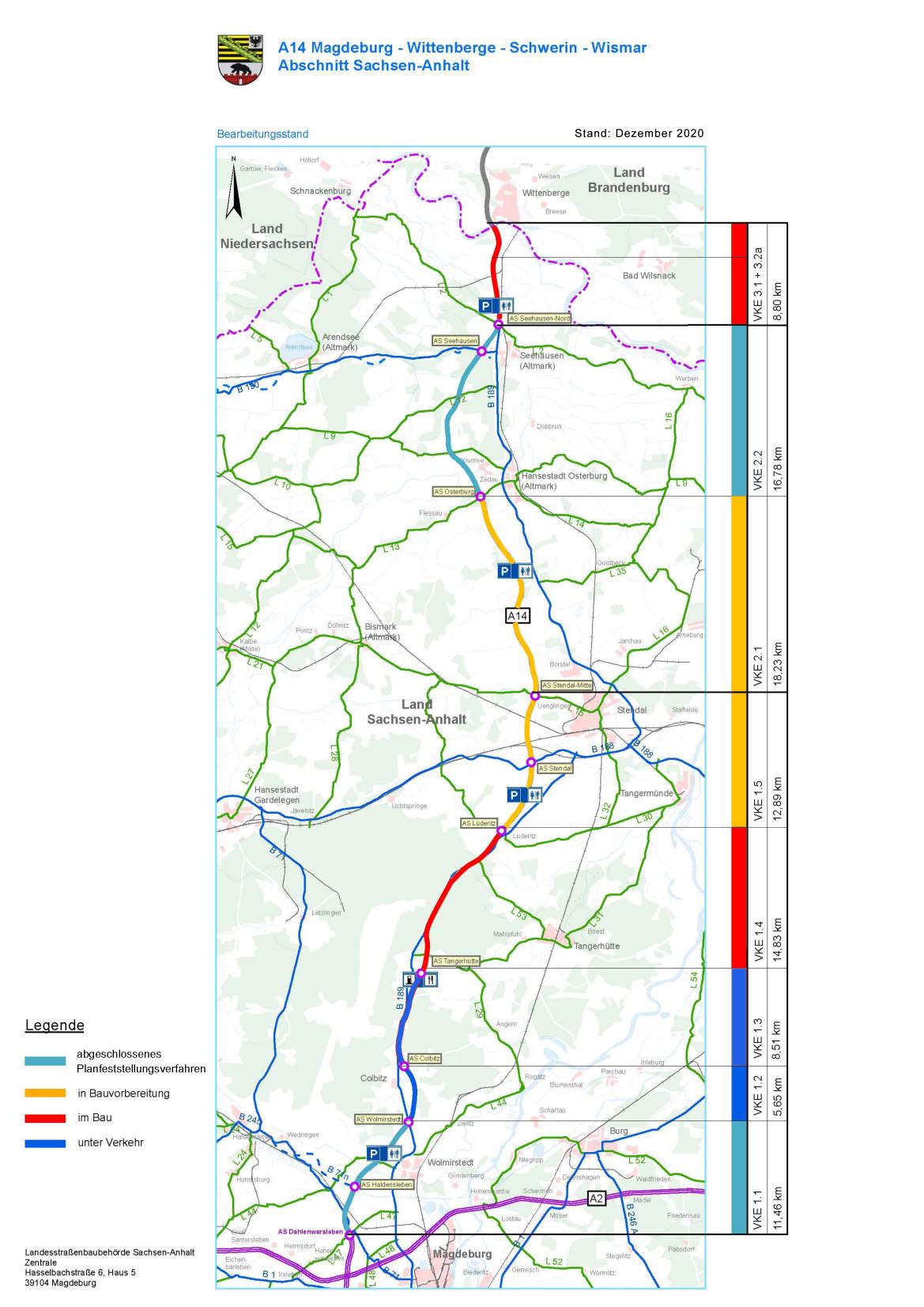Plan Stand Dezember 2020: Nordverlängerung A14, c Straßenbauverwaltung des Landes Sachsen-Anhalt, Landesstraßenbaubehörde, Regionalbereich Süd