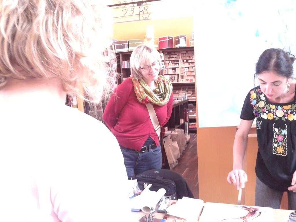 Megi Balzer bei Firma Boesner in Berlin, Malerei in Mischtechnik- Sennelier: Öl-Sticks, Öl Farben, Schellacktusche, Eitempera.