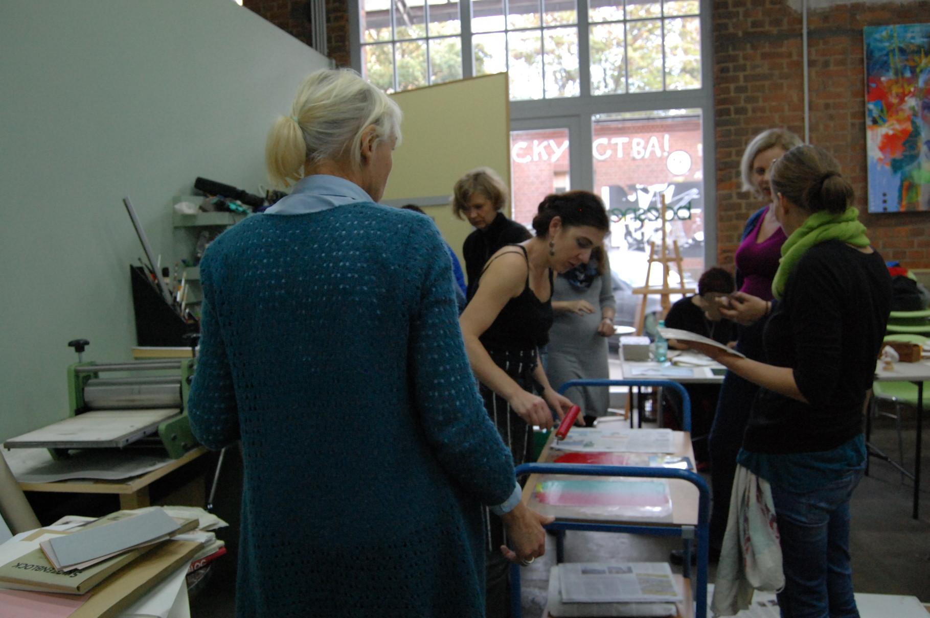 Megi Balzer, Linoldruck Workshop, Boesner Leipzig