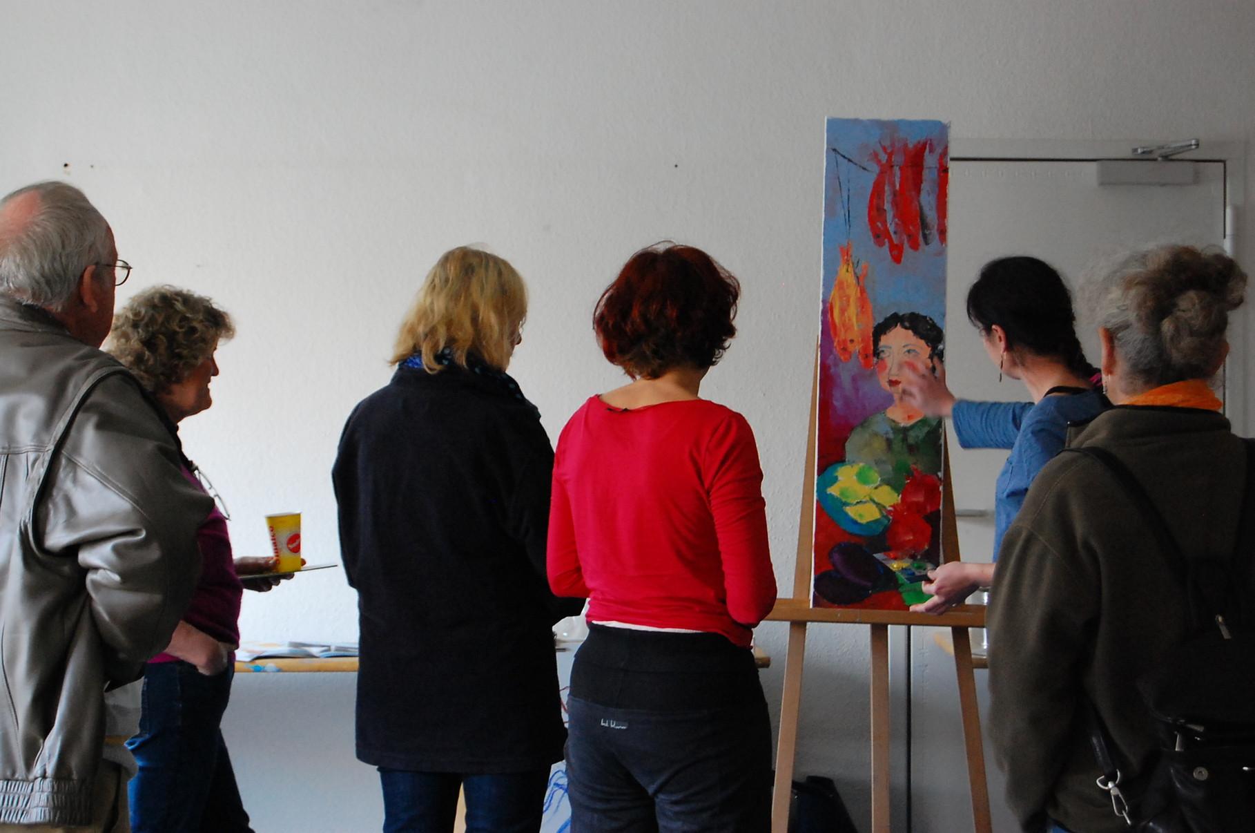 Künstlerin Megi Balzer bei Firma Boesner Kiel 2014/ Malerei in Mischtechnik- Sennelier Öl-Sticks, Tempera, Schelllacktusche, Ölfarben