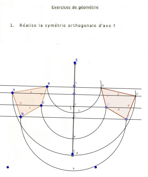 Un exercice de géométrie réalisé à l'ordinateur par un apprenant présentant une dyspraxie