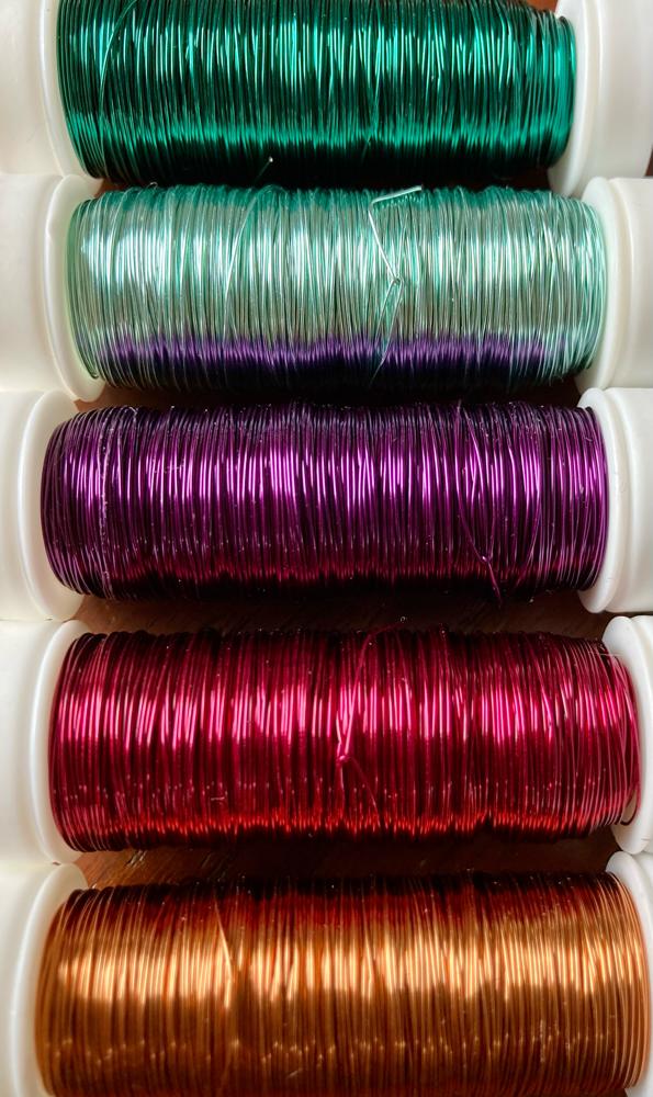 Schmuckdraht bunt - dunkelgrün, mintgrün, lila, weinrot und kupfer