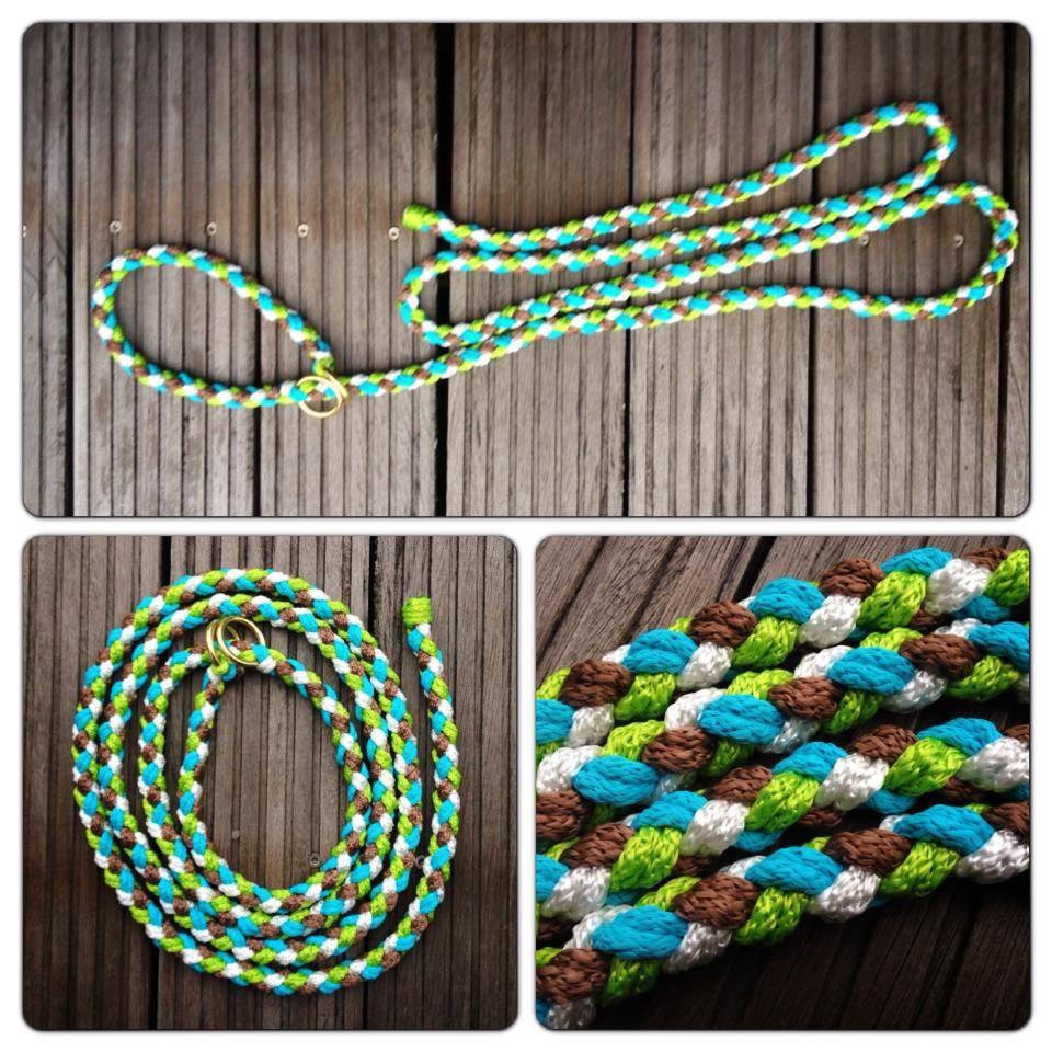 Hundeleine und Halsband in einem - lime türkis hellbraun und weiß
