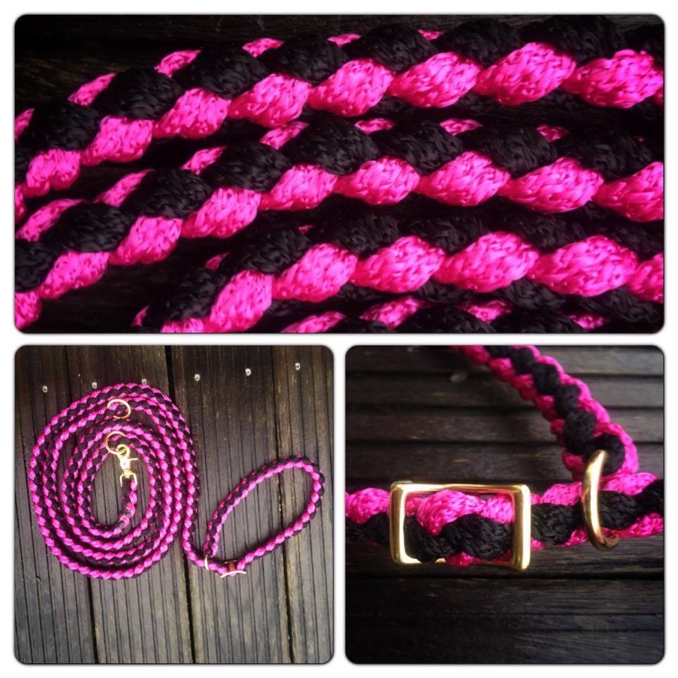 Hundeleine und Halsband in einem - pink schwarz