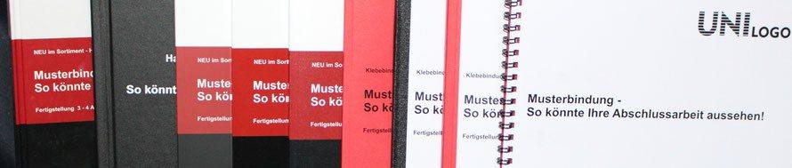 Wir binden ihre Klebe-/Softcoverbücher in zahlreichen Varianten, hervorragen zum binden Ihrer Bachelorarbeit, Masterarbeit, Dissertation, Gutachten oder... geeignet