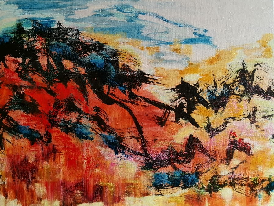 Punainen hetki, 赤い時間, Red moment, 60 x 80 / available from artleenakr@gmail.com 1180€
