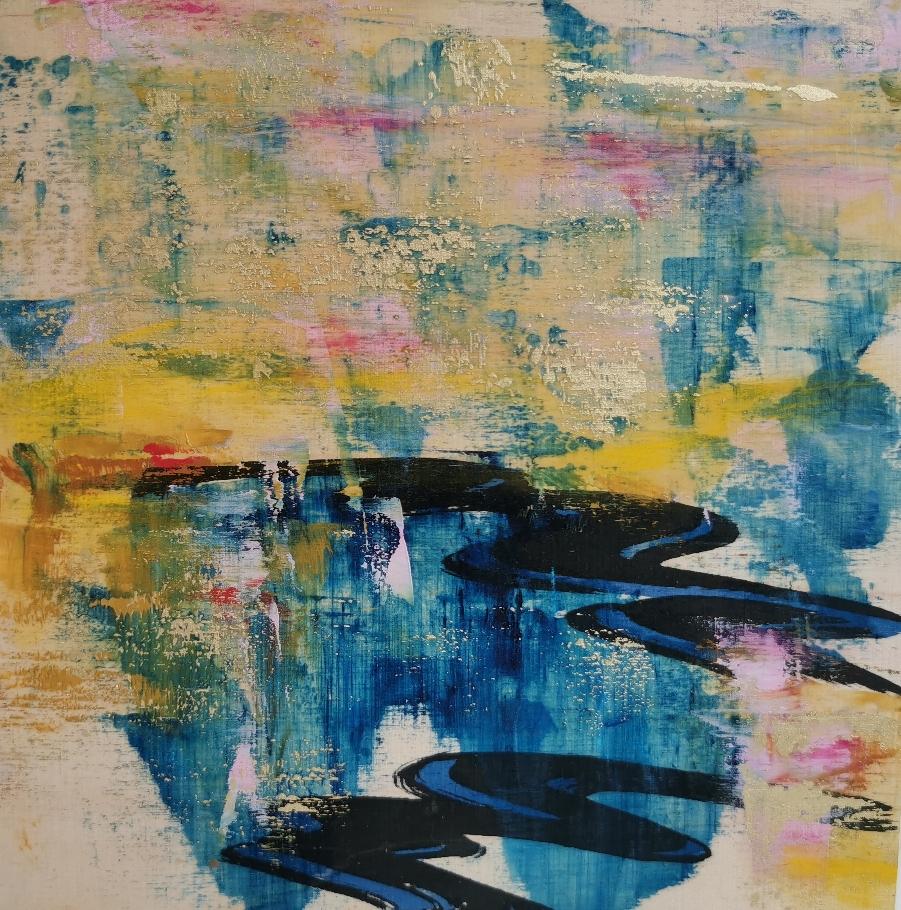 Merellä on silmät,  海の眼, Eyes of the sea, 20 x 20  / available from artleenakr@gmail.com 180€