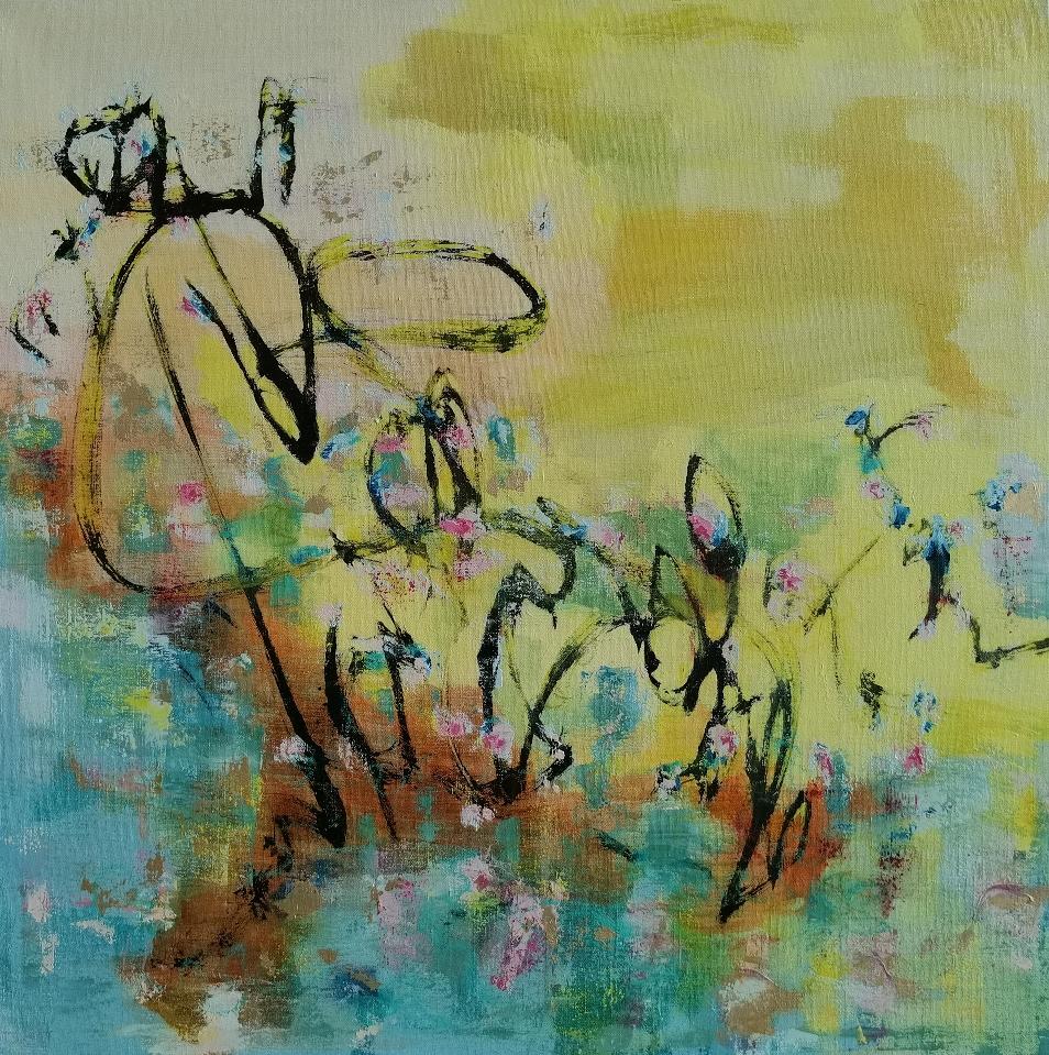 Hiljaisesti, 静かに, Silently, 100 x 100, mixed media on linen / private collection