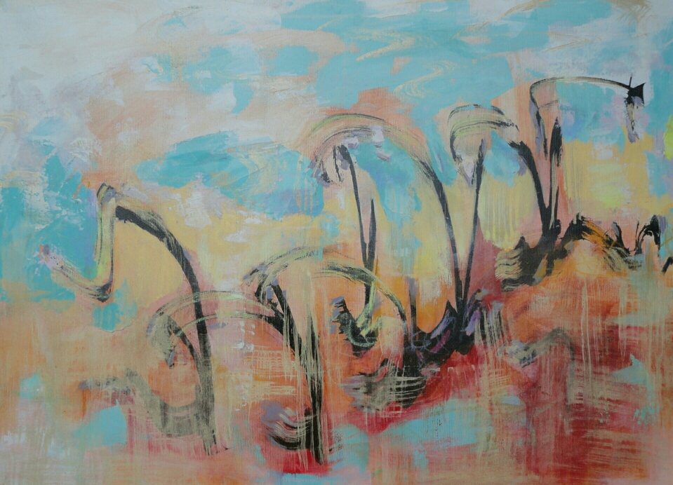 On our way, 60 x 80, mixed media on canvas/ available in www.taidelainaamo.fi