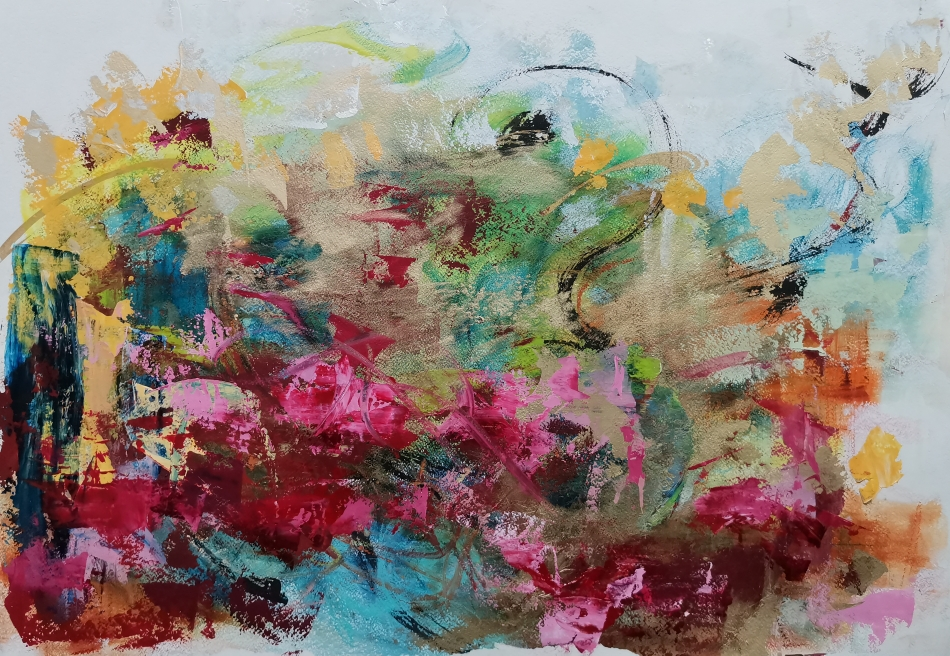 Desert Roses, 61 x 86, mixed media on paper / available from artleenakr@gmail.com 1380€