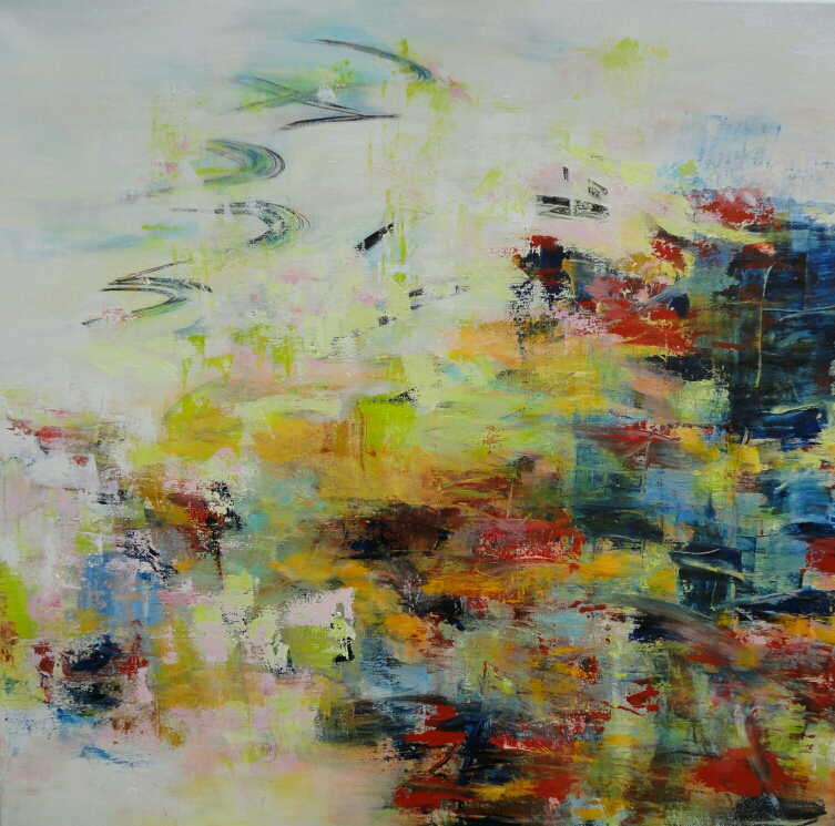 Wetland calling, 90 x 90, mixed media on canvas / available in www.taidelainaamo.fi