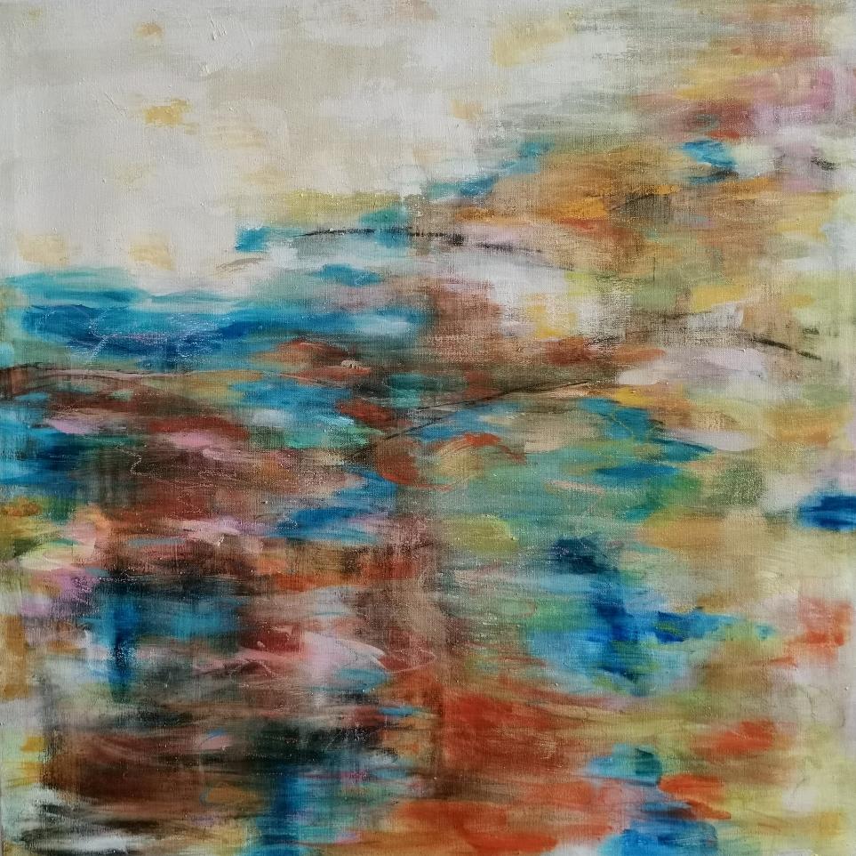 Tämä maa tämä meri, この地この海, This land this ocean, 100 x 100, mixed media on linen/available in www.taiko.fi 2100€