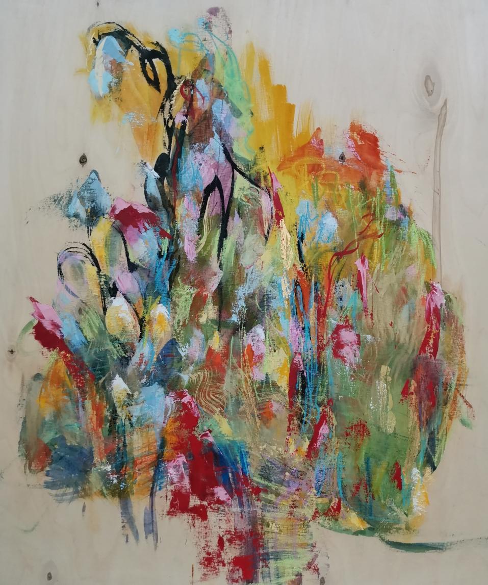 Sydämeeni kesän teen ( I am making summer into my hart), 80 x 61, mixed media on wood / available artleenakr@gmail.com
