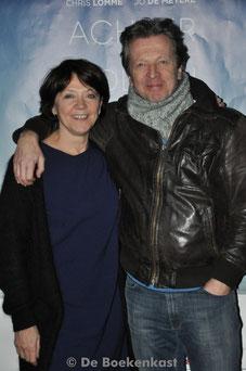Katelijne Verbeke en Lucas Van Den Eynde tijdens de filmvoorstelling in Sint-Niklaas