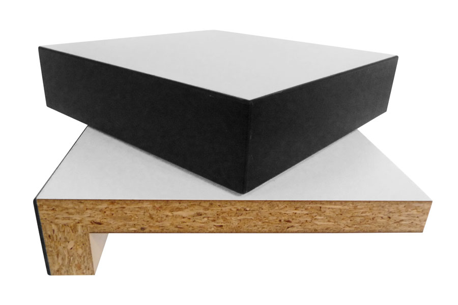 Massivholzkante gebeizt, 50 mm aufgedoppelt, mit ABS-Kante, Trägerplatte 19 mm Span