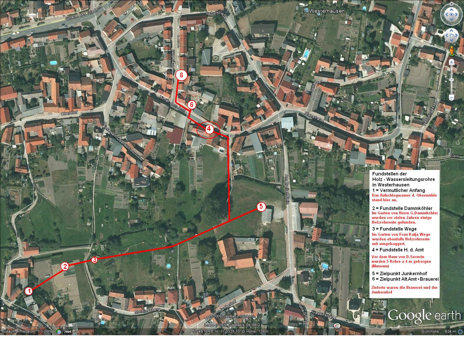 Der vermutete Lauf der Wasserleitung und die Orte der Fundstücke