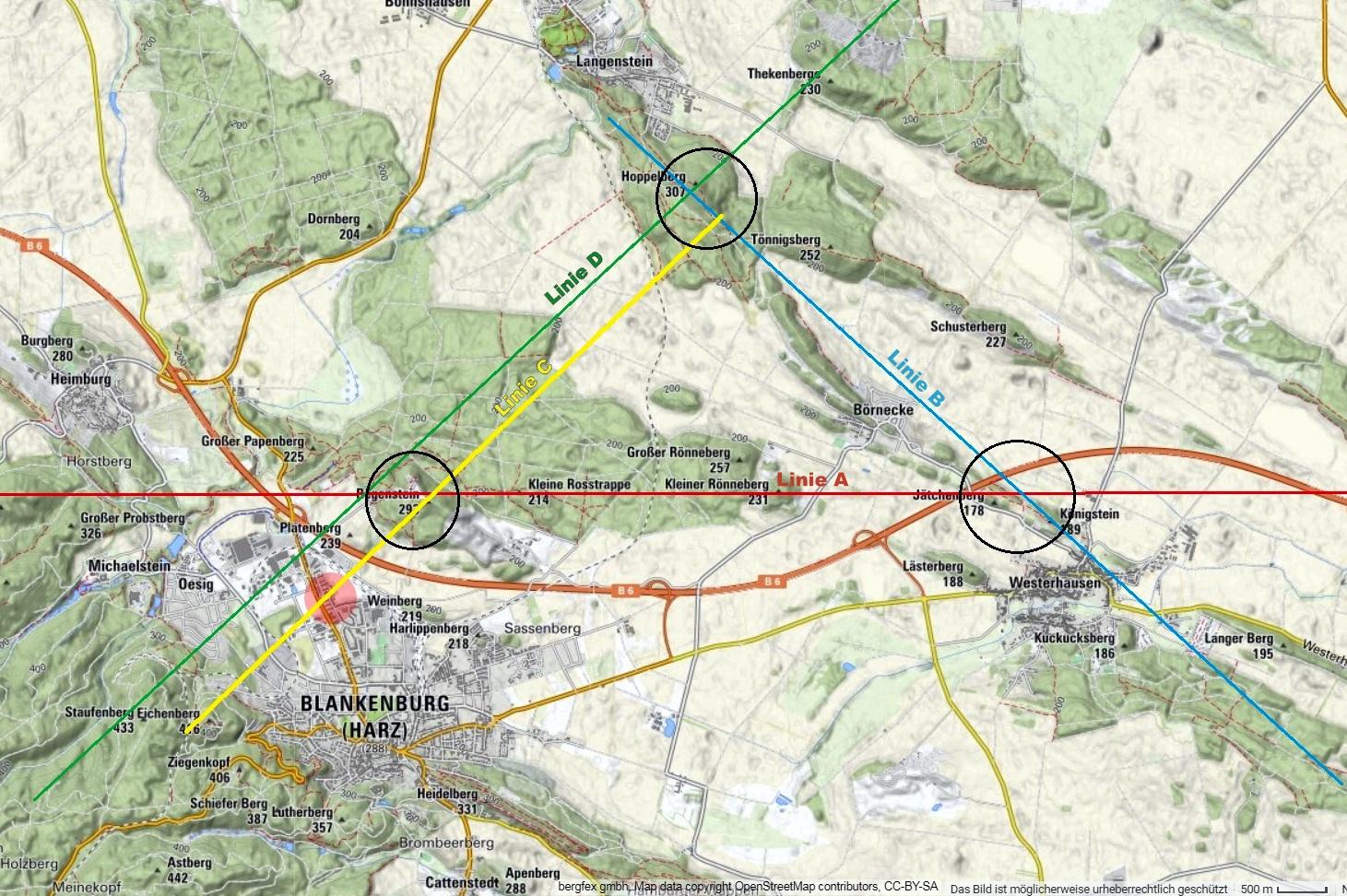 """Die """"Heiligen drei Berge"""": links der Regenstein, rechts der Königstein, oben der  Hoppelberg"""