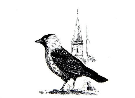 Dohlenmann auf der Stiftskirche (Eine Zeichnung unseres Vorsitzenden Hariolf Löffelad von 1989)