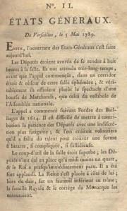 la gazette (journal) de Mirabeau sur les Etats Généraux