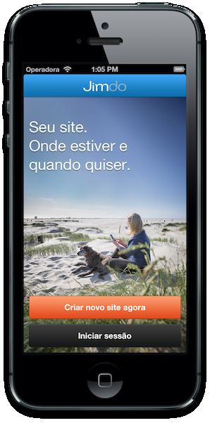 Jimdo-App tela inicio