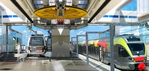 Bahnstation Percha mit Aufstiegsanalage zum Kronplatz