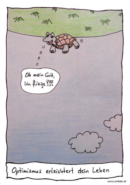 """Schildkröte liegt auf dem Rücken und sieht den Himmel und denkt sich: """"Oh mein Gott, ich fliege!!!"""""""